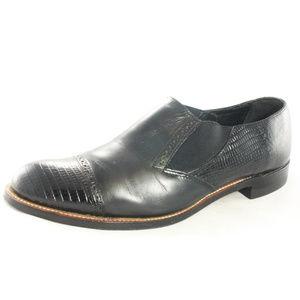 Vintage STACY ADAMS Croc Cap Toe Slip On Loafers